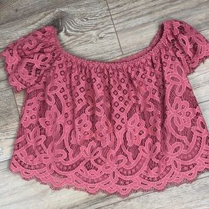 Express pink lace crop top size MED